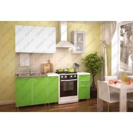 Кухня белый-зеленый глянец 1,5м без фотопечати